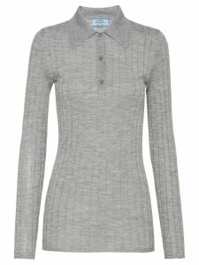 Prada ribbed knitted polo shirt - Grey