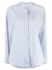 Isabel Marant Satchell striped band-collar shirt - Blue