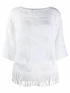 Blumarine oversized woven T-shirt - White