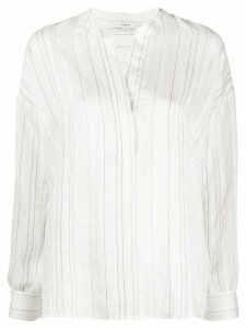 Vince striped-print v-neck blouse - White