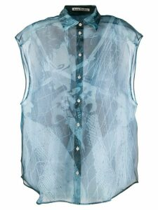 Acne Studios magazine-print sleeveless blouse - Blue