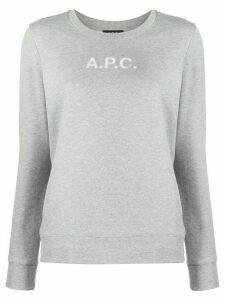 A.P.C. logo print round neck sweatshirt - Grey