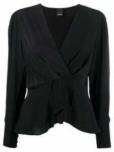 Pinko ruffled hem deep V-neck blouse - Black