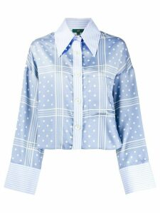 Jejia cropped polka-dot shirt - Blue