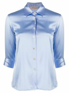 Blanca Vita satin button-up shirt - Blue