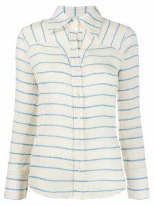 Victoria Victoria Beckham micro-pleated striped shirt - NEUTRALS