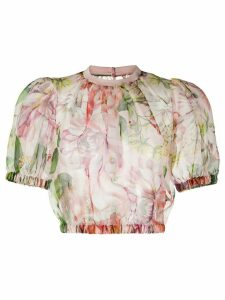 Dolce & Gabbana floral print organza top - PINK