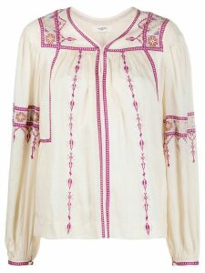Isabel Marant Étoile embroidered peasant blouse - NEUTRALS