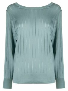 Agnona fine knit ribbed jumper - Blue