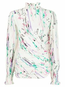 Isabel Marant abstract-print smock-neck blouse - White