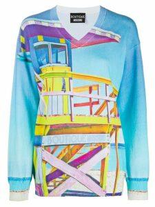 Boutique Moschino knitted beach print jumper - Blue