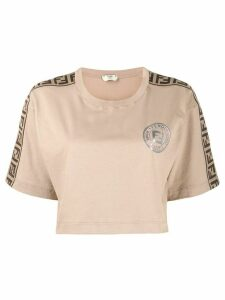 Fendi cropped FF motif T-shirt - NEUTRALS