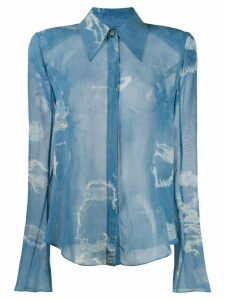 Balmain distressed print shirt - Blue