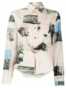 Cédric Charlier patchwork long-sleeve shirt - PINK