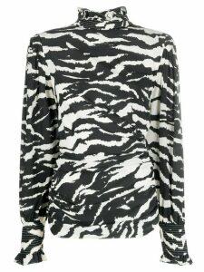 Isabel Marant zebra-print smock-neck blouse - Black