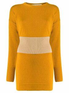 Marni ribbed-waist longline sweater - Yellow