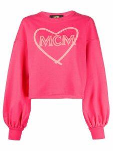 MCM heart-print branded sweatshirt - PINK