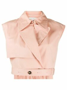 Cédric Charlier sleeveless cropped jacket - PINK