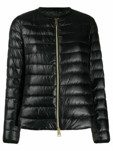 Herno collarless high-shine quilted-down jacket - Black