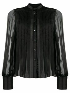 Temperley London pleated chiffon and satin blouse - Black