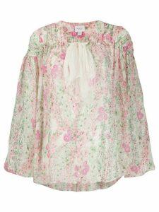 Giambattista Valli floral print tie neck silk blouse - NEUTRALS