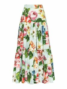 Dolce & Gabbana floral print tiered maxi skirt - Green