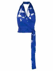 Federica Tosi sheer halterneck top - Blue