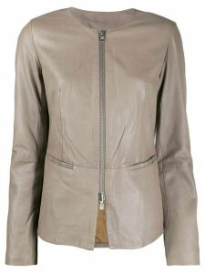 S.W.O.R.D 6.6.44 leather short jacket - NEUTRALS
