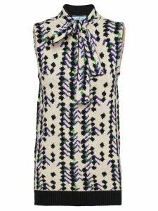Prada square jacquard knitted top - NEUTRALS