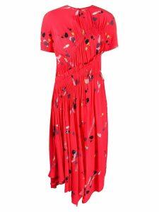 Preen Line brush stroke pleated midi dress - Red