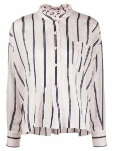 Isabel Marant Étoile striped ruffled neck shirt - PINK
