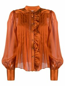 Temperley London pleated chiffon and satin blouse - ORANGE