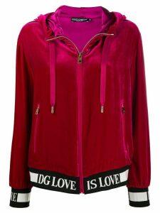 Dolce & Gabbana logo detail zipped hoodie - PINK