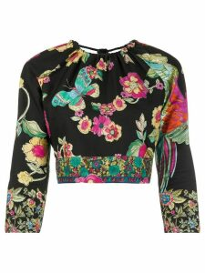 RedValentino floral and butterfly print top - Black