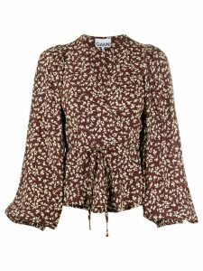 GANNI floral print wrap blouse - Brown