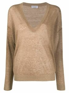 Brunello Cucinelli long-sleeve fitted jumper - NEUTRALS