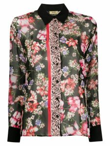 LIU JO sheer floral print shirt - Black