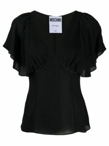Boutique Moschino ruffled-sleeve silk top - Black