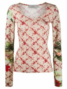 Preen By Thornton Bregazzi Yae floral patterned top - NEUTRALS