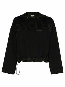 Moncler cropped logo-print hoodie - Black