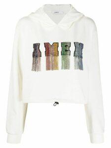 Amen crystal-embellished cropped hoodie - White