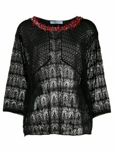 Blumarine embellished neck sheer knit top - Black