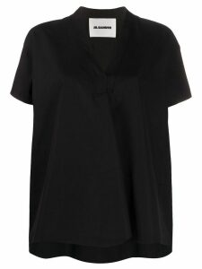 Jil Sander oversized V-neck top - Black