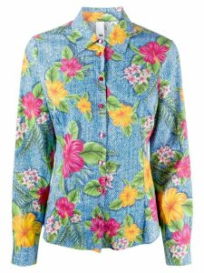Ultràchic long sleeve floral print denim shirt - Blue