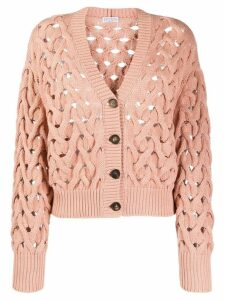 Brunello Cucinelli cable knit buttoned cardigan - PINK