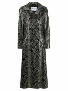STAND STUDIO snakeskin-print double-breasted coat - Black