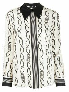 Elisabetta Franchi long sleeve chain print blouse - NEUTRALS