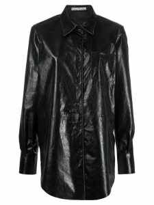 Acne Studios panelled leather shirt - Black