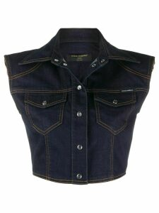 Dolce & Gabbana sleeveless cropped denim jacket - Blue