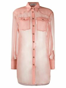 Brunello Cucinelli silk long-sleeve sheer blouse - PINK